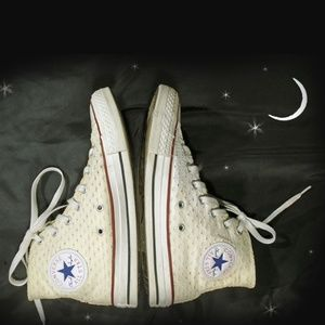 Chuck Taylor High Top Sneakers Ivory Cream Eyelet
